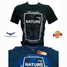 Kaos Pria Lengan Pendek Warna Biru Dan Hitam Nature Bahan Bagus Kualitas Top Merk Cressida Asli Original