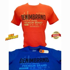 Kaos Pria Model Slim Fit Lengan Pendek Warna Orange Dan Biru - Merk Cressida Original