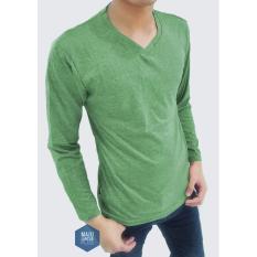 Kaos Pria - V Neck Lengan Panjang - Rare Polos - warna Giok - All size