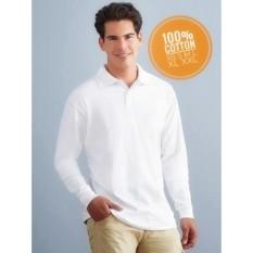 Kaos Putih Kerah Tangan Panjang full Cotton XS S M L XL XXL
