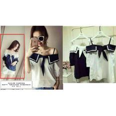 LFS Blouse Japan Style Cute / Blouse Wanita mix Warna / Baju Cewek (Ilorsa) NR D30 - Navy / top atasan wanita / Baju Lebaran /  sabrina blouse D3C