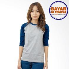 Maciku Kaos T-Shirt Kaos Raglan Wanita Abu Misty Kombinasi Hitam Polos