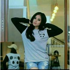 Kaos UNISEX Karakter Panda Grey Oneck Lengan Panjang Tshirt Cotton Baju Cewek Cowok Murah