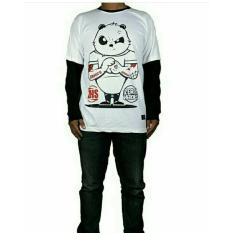 Kaos UNISEX Karakter Panda Putih Oneck Lengan Panjang Tshirt Cotton Baju Cewek Cowok Murah