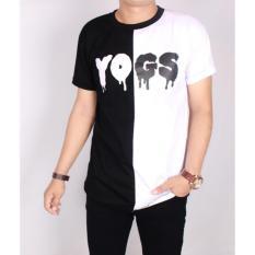 Kaos YOGS Pria Lengan Pendek Hitam Putih YoungLex Kombinasi / Baju Kaso Distro YOGS Cowok Katun Exclusive