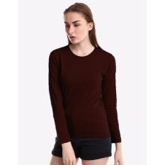 Kaos55 Tshirt O-neck Panjang Slim Wanita - Coklat