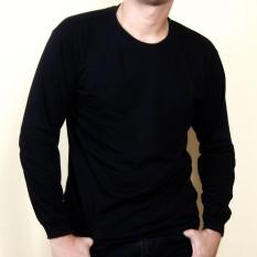 Diskon Produk Kaos86 Kaos Polos T Shirt O Neck Lengan Panjang Hitam