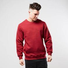 Toko Kaosbro Basic Sweater Sweater Jumper Polos Merah Maroon Marun Unisex Online Terpercaya