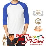 Jual Kaosyes T Shirt Kaos Polos Raglan The Big J Putih Biru Tua Termurah