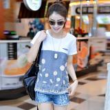 Toko Showdiya T Shirt Katun Wanita Lengan Pendek Longgar Biru Biru Terlengkap Tiongkok