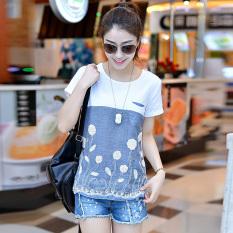 Spesifikasi Showdiya T Shirt Katun Wanita Lengan Pendek Longgar Biru Biru Murah