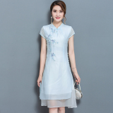 Beli Kapas Bagian Panjang Dari Tipe A Gaun Cheongsam Wanita Rok Gaun Biru Baju Wanita Dress Wanita Gaun Wanita Seken
