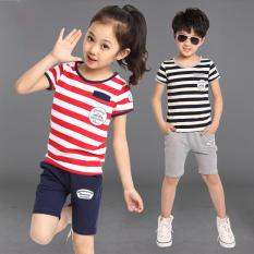 Seragam Sekolah Anak Laki-laki Panjang Lengan Bergaris Baju Olahraga Katun Baru (Merah Strip Tebal Lengan Bang Pendek Jas)