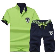 Kapas Baru Remaja Ukuran Besar Kaus (Hijau) Baju Atasan Kaos Pria Kemeja Pria