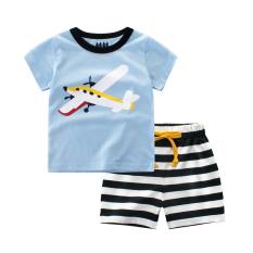 Kapas Bayi Musim Panas Baru Anak Laki-laki Celana Versi Korea dari Kaus (9700C Cahaya Biru/Hitam kerah)