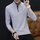 Jual Kapas Laki Laki Kerah Stand Up Slim Lengan Panjang T Shirt Abu Abu Import