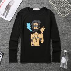 Jual Kapas Laki Laki Leher Bulat Slim Pakaian Pria Atasan T Shirt Merokok Hitam Panjang T Branded