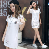Longgar Korea Fashion Style Siswa Perempuan Baru Katun Atasan Kaos Putih Original