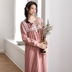 Kapas Manis Bagian Tipis Lengan Panjang Baju Rumah Gaun Tidur (Gambar Warna)
