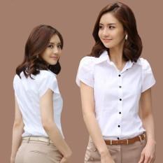 Kapas Perempuan Lengan Pendek Putih Kemeja Kemeja Putih (Putih) baju wanita baju atasan kemeja wanita blouse wanita