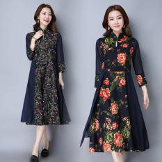 Harga Kapas Retro Baru Slim Dicetak Gaun Ditingkatkan Gaun Cheongsam Bunga Baju Wanita Dress Wanita Gaun Wanita Oem Terbaik