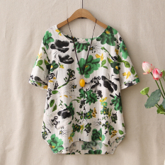 Jual Kapas Sastra Baru Longgar Bottoming Kemeja T Shirt Hijau Baju Wanita Baju Atasan Kemeja Wanita Import