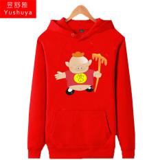 Kartun Babi Pria Tambah Beludru Hoodie Kaos Sweater Musim Gugur dan Musim Dingin Pakaian Lebih Tebal