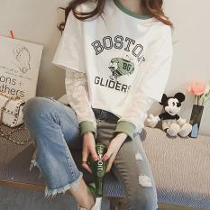 Diskon Xianyuansu Kaos Wanita Lengan Panjang Model Terlihat 2 Lapis Longgar Motif Kartun Warna Putih Hitam 125 Putih Oem Di Tiongkok