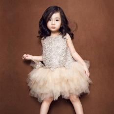 Dress Gaun Rok Tutu Anak Perempuan Warna Sampanye