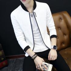 Jaket Ramping Sesuai Pria Terkini Gaya Korea (Putih) (Putih)