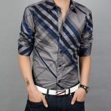 Harga Kasual Baru Kotak Kotak Bagian Tipis Dicetak Kemeja Cs 501 Garis Biru Baju Atasan Kaos Pria Kemeja Pria Baru