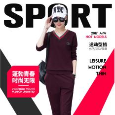 Kasual Baru Lengan Panjang Kerah V Baju Olahraga (Anggur Merah (2 Pcs/set))
