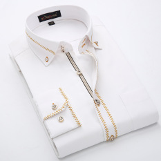 Obral Kasual Berwarna Warni Pria Kerah Kecil Kemeja Kemeja Putih Garis Kuning Lengan Panjang Baju Atasan Kaos Pria Kemeja Pria Murah