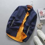 Kasual Ditambah Beludru Pria Kemeja Lengan Panjang Yang Hangat Baju Kemeja Biru Tua Baju Atasan Kaos Pria Kemeja Pria Tiongkok Diskon 50