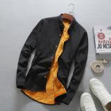 Toko Kasual Ditambah Beludru Pria Kemeja Lengan Panjang Yang Hangat Baju Kemeja Hitam Tiongkok