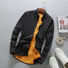 Harga Kasual Ditambah Beludru Pria Kemeja Lengan Panjang Yang Hangat Baju Kemeja Hitam Yang Murah
