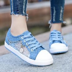 Jual Kasual Jala Bernapas Siswa Sekolah Menengah Perempuan Papan Sepatu Sepatu Flat Light Blue Sepatu Wanita Sepatu Sport Sepatu Sneakers Wanita Branded Original