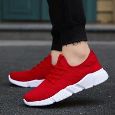 Miliki Segera Kasual Jala Putih Baru Bernapas Sepatu Lari Merah