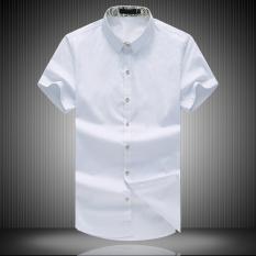 Jual Kemeja Musim Panas Pria Kemeja Katun Kasual Warna Solid Pria Slim Bagian Tipis Bisnis Muda Putih Import