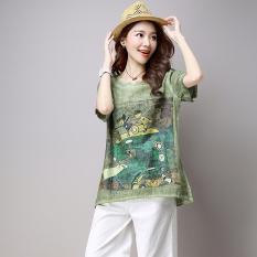 Review Toko T Shirt Lengan Pendek Kartun Casual Wanita Hijau Hijau