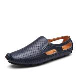 Spesifikasi Kasual Kulit Bernapas Pria Lubang Sepatu Pria Sandal Sandal Biru Tua Sepatu Pria Sepatu Sendal Lengkap