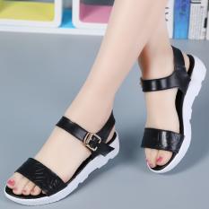 Spesifikasi Kasual Kulit Datar Dengan Wanita Hamil Sepatu Versi Korea Sandal Hitam Lengkap