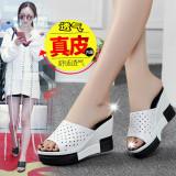 Diskon Kasual Kulit Siswa Mulut Ikan Sepatu Sandal Wanita Sendal 7767 Putih Meninju Sepatu Wanita Sandal Wanita