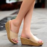 Sandal Kulit Diluar Ruangan Sendal Kasual Ukuran Besar Beige Sepatu Wanita Sandal Wanita Tiongkok
