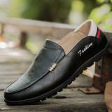 Review Kasual Kulit Warna Hitam Putih Sepatu Pria Sepatu Kulit Kacang A92 Hitam Terbaru