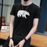 Jual Kasual Leher Bulat Pria Lengan Pendek T Shirt Musim Panas Laki Laki T Shirt T63 Hitam Di Tiongkok