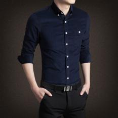 Beli Kasual Lengan Panjang Bagian Tipis Slim Korea Fashion Style Kemeja Kemeja Pria 280 Kaki Biru Baju Atasan Kaos Pria Kemeja Pria Cicilan