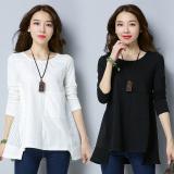 Beli Kasual Longgar Jala Lengan Panjang T Shirt Putih Baju Wanita Baju Atasan Kemeja Wanita Online Terpercaya