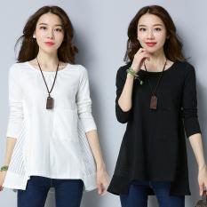 Harga Kasual Longgar Jala Lengan Panjang T Shirt Putih Baju Wanita Baju Atasan Kemeja Wanita Original
