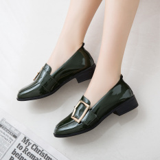 Jual Sepatu Lapisan Tunggal Wanita Hak Sedang Ujung Persegi Retro Model Inggris Hijau Hijau Online